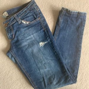 Garage low rise ripped blue skinny jeans